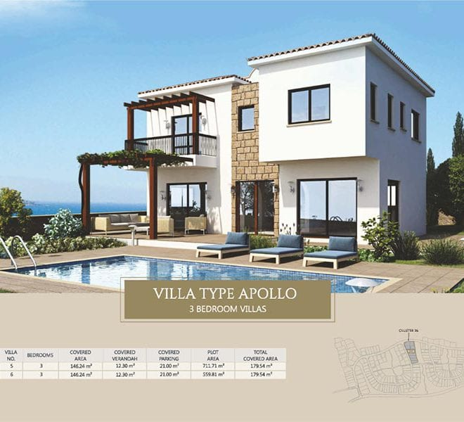 Villa for sale in Paphos, Venus Rock Resort, Villa Type Apollo