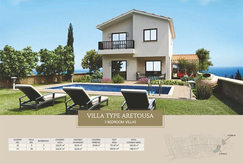 Villa for sale in Paphos, Venus Rock Resort, Villa Type Aretousa